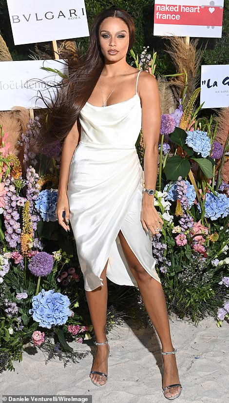 Stunning: French model Alicia Aylies wowed in a satin cream slip dress