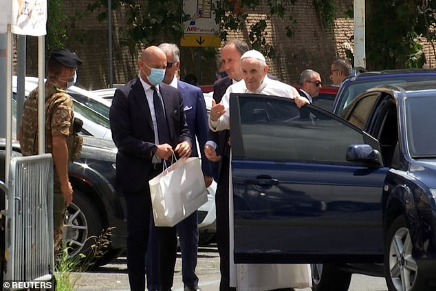 The 84-year-old appeared in good spirits as he stepped out of the car and greeted his escorts and guards