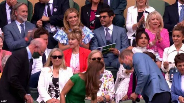 Meghan Markle's friend Priyanka Chopra appeared to 'ignore' Prince William and Kate Middleton as they were clapped into the Royal Box at Wimbledon