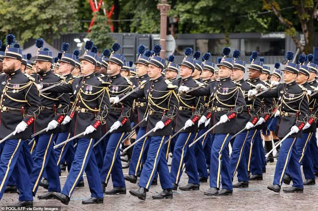 Pupils of the School of the French Nationale Gendarmerie officers (Ecole des officers de la Gendarmerie nationale) take part in the annual Bastille Day military parade