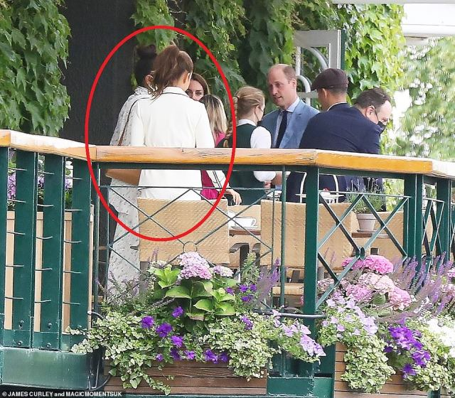 Priyanka Chopra was joined in the Royal Box by her business woman friend Natasha Poonawalla (both circled) they appeared to not engage with the royal couple