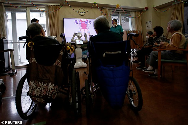 Companionship? SoftBank Robotics said the robots had been programmed to recognise the needs of elderly care home residents (pictured)