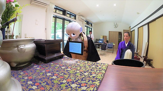 It has lost jobs at a nursing home, funeral business (pictured) and bank because people 'expect the intelligence of a human', one expert said of Pepper, which is able to 'read' emotions