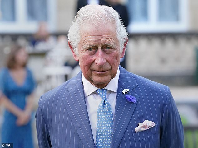 Charles (pictured) looked dapper in a blue pinstripe suit with accompanying light blue patterned tie, sporting an elephant pin on his lapel