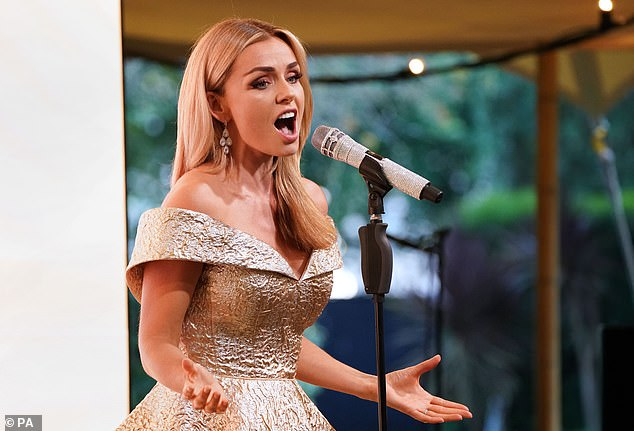 Stars including Katherine Jenkins (pictured) attended the event, with the opera singer performing for guests