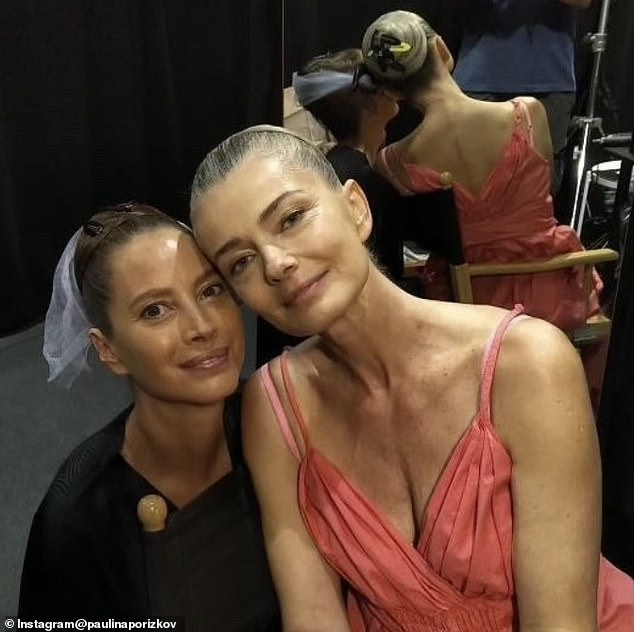 Fashion friends: Paulina posted behind-the-scenes photos, including a selfie she took with Christy Turlington backstage