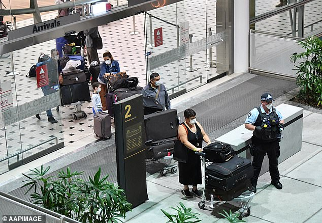 Ms Palaszczuk urged Queenslanders in other states, like NSW and Victoria, to 'come home'. Pictured: People at Brisbane Airport