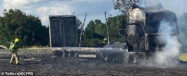 Firefighters were called to the M11 southbound between Junction 10 and Junction 8 at around 5pm on Wednesday, July 14. Pictured: The aftermath of the HGV