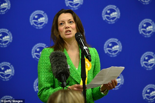 His speech – designed to put flesh on the bones of his election-winning slogan – comes amid Tory jitters over last month's Chesham and Amersham by-election defeat to the Liberal Democrats. Pictured: Chesham and Amersham Lib Dem MP Sarah Green