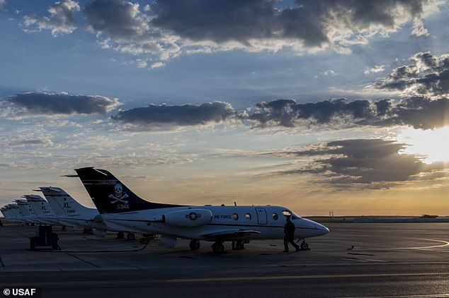 Planes are seen lined up at Laughlin air force base in Texas