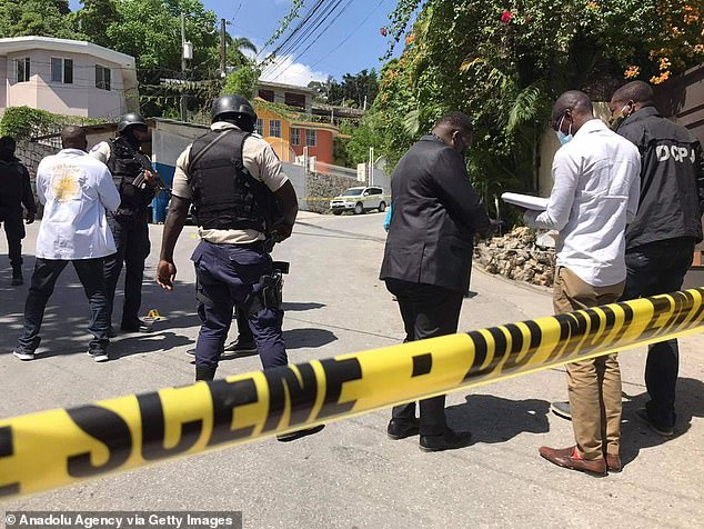 Security forces inspect at the site after an attack at the residence of Haiti's President Jovenel Moise in Port-au-Prince, Haiti on July 7