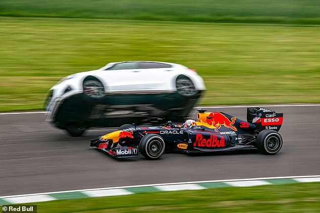 Verstappen overtakes a 'boy racer' on two wheels during his wacky races challenge