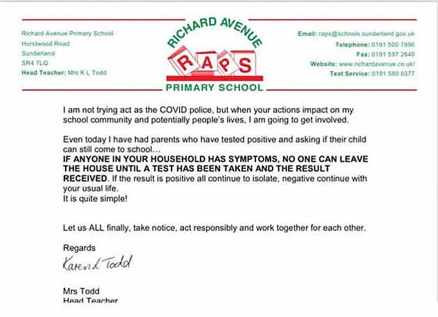 Ms Todd claimed in the letter (pictured), sent on November 3, that some adults were making a series of 'totally irresponsible decisions' which had 'increased the risk' of Covid-19 transmission to pupils, staff and their families