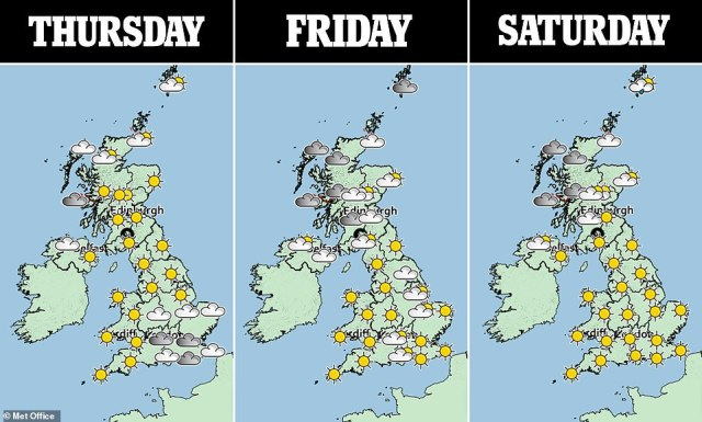Met Office meterologists are forecasting settled, hot weather in parts of the country until at least the first week of August as the jet stream which caused 'biblical' floods in London moves northwards