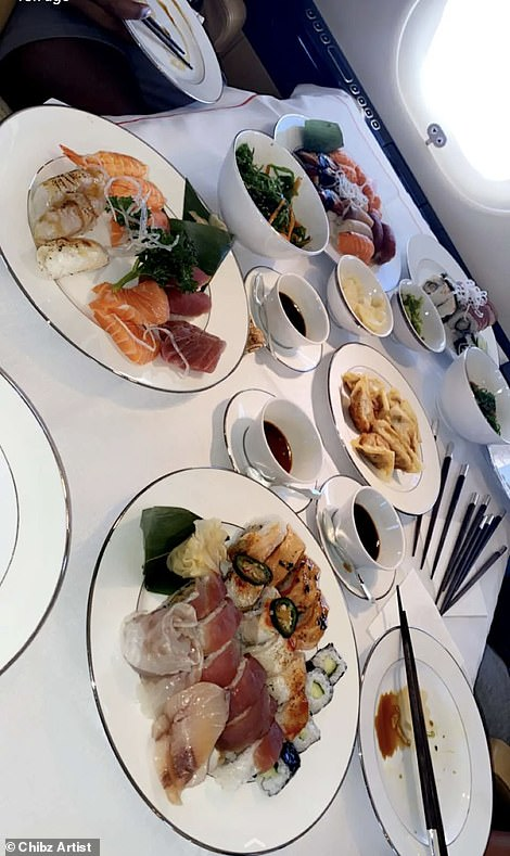 Food and drink served on board the private jet which took Rashford and Sancho to Turks and Caicos on holiday