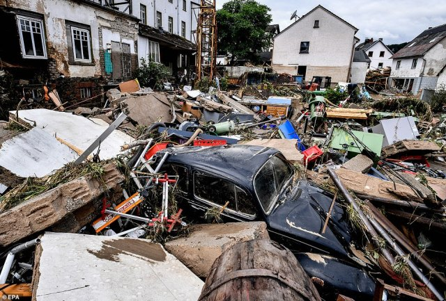 Debris of houses and cars after flooding in Schuld, Germany