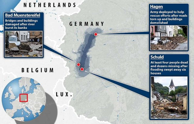 The worst-hit areas were in western Germany, where torrential rain and flash flooding caused rivers to burst their banks and sweep away houses killing at least 42