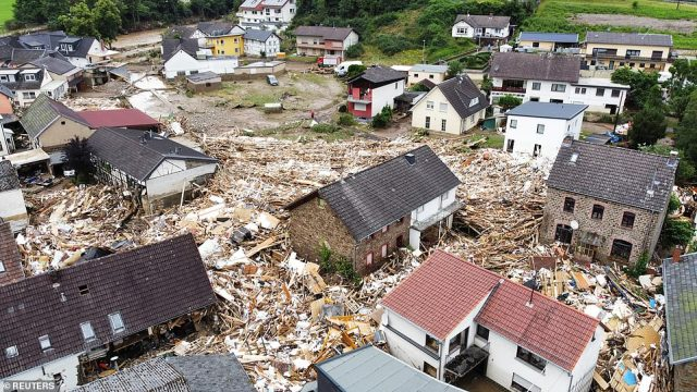 GERMANY: Debris from destroyed houses is seen strewn through the city of Schuld after it was hit by flooding overnight