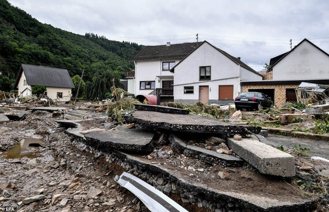 The village of Schuld in the district of Ahrweiler is destroyed after heavy flooding of the river Ahr