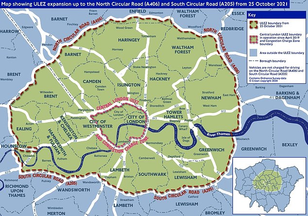 If you also drive within the Congestion Charge zone in central London you will need to pay the daily Congestion Charge of £11.50 and the ULEZ charge, unless your vehicle has an exemption or discount. The Congestion Charge zone will not be expanding meaning you would incur £24 in total.