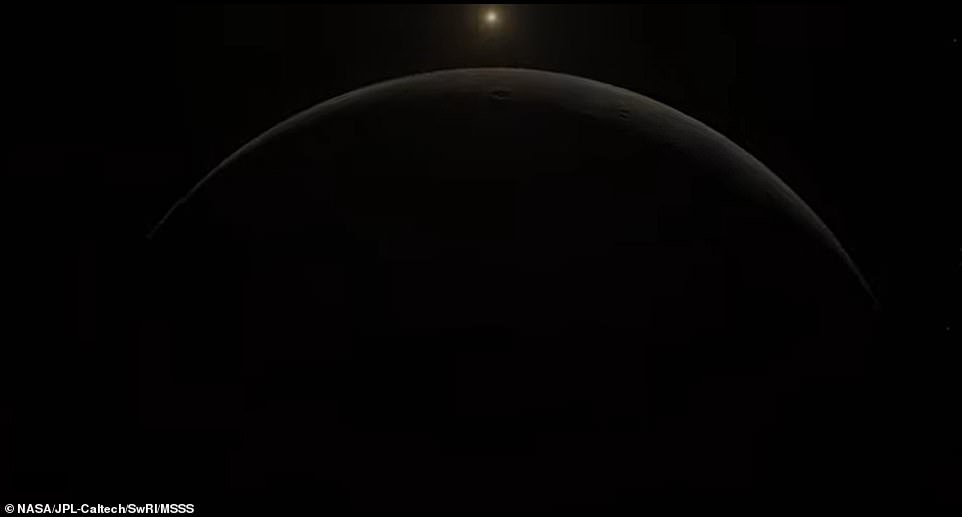 Once space enthusiasts get their fill of Ganymede, the animation takes them 735,000 miles away to Jupiter - a route that takes Juno 14 hours and 50 minutes to complete