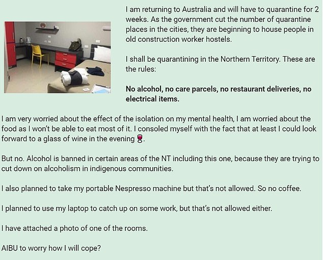 The parent, thought to currently be based in the UK, took to Mumsnet (pictured) to explain the 'harsh' restrictions that will placed on her when isolating upon her arrival in the country