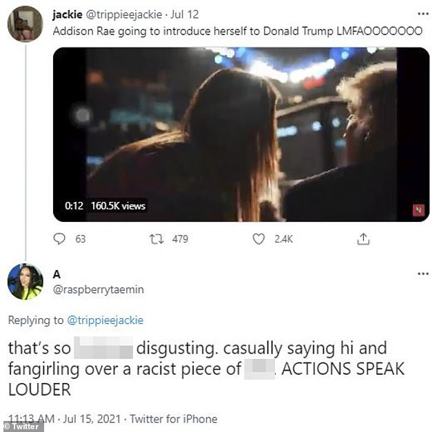 Disgusted? One Twitter user described the clip as 'disgusting' and that they were put off by Addison 'casually saying hi and fangirling over a racist piece of sh**'