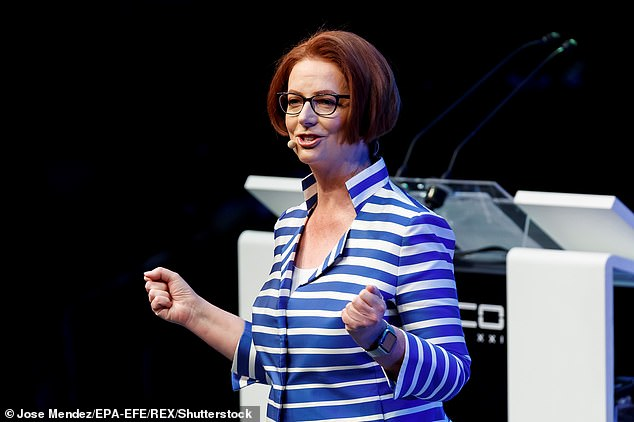 The woman wished to return home to Melbourne after the death of a loved one but can't get a flight until September 4 - Ms Gillard provided a bland response to an audience for the Britain-Australia Society at the Royal Over-Seas League in London