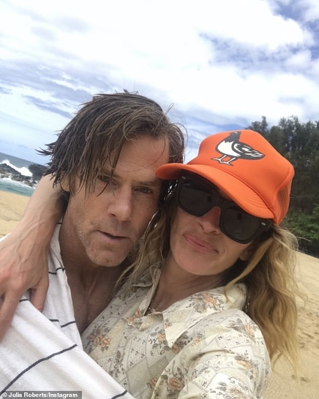 'Just getting started!'Julia and second husband Daniel celebrated their 19th wedding anniversary on the Fourth of July with a rare beach selfie