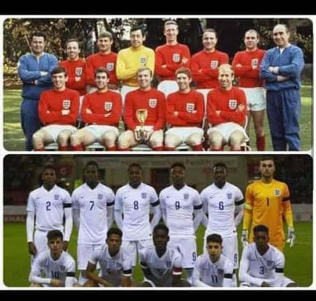 MrDrewery, owner of North Ferriby Cleaning Services, made the sickening comment after an associate posted a picture on Facebook of the England Under 17s football team alongside an image of their senior 1966 World Cup-winning counterparts
