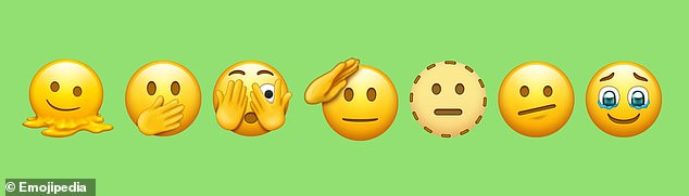 From left: Melting Face, Face with Open Eyes and Hand Over Mouth, Face with Peeking Eye, Saluting Face, Dotted Line Face, Face with Diagonal Mouth and Face Holding Back Tears. All are among the emojis likely to be approved in September 2021
