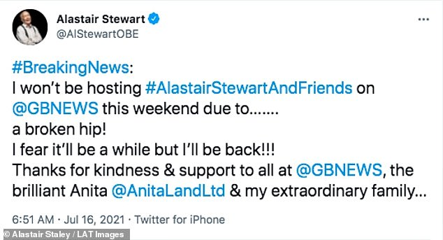 Breaking news: The former ITV News journalist, 69, shared the news with his followers on Twitter on Friday morning, saying: 'I fear it'll be a while but I'll be back!'