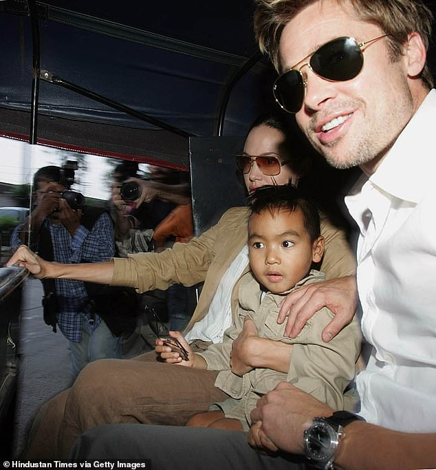 Joint custody: Jolie and her ex-husband Brad Pitt share joint custody of their six children, twins Vivienne and Knox, 12, Shiloh, 15, Maddox, 19, Zahara, 16, and Pax, 17 (pictured together with Maddox in 2016)