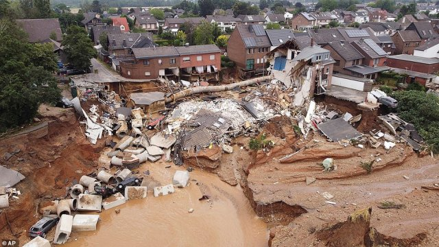 Heavy rains caused mudslides and flooding in the town of Blessem, western Germany, killing an unknown number of people