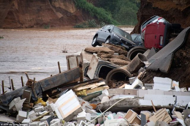 Damaged cars lie in the rubble in an area completely destroyed by the floods in the Blessem district of Erftstadt, Germany