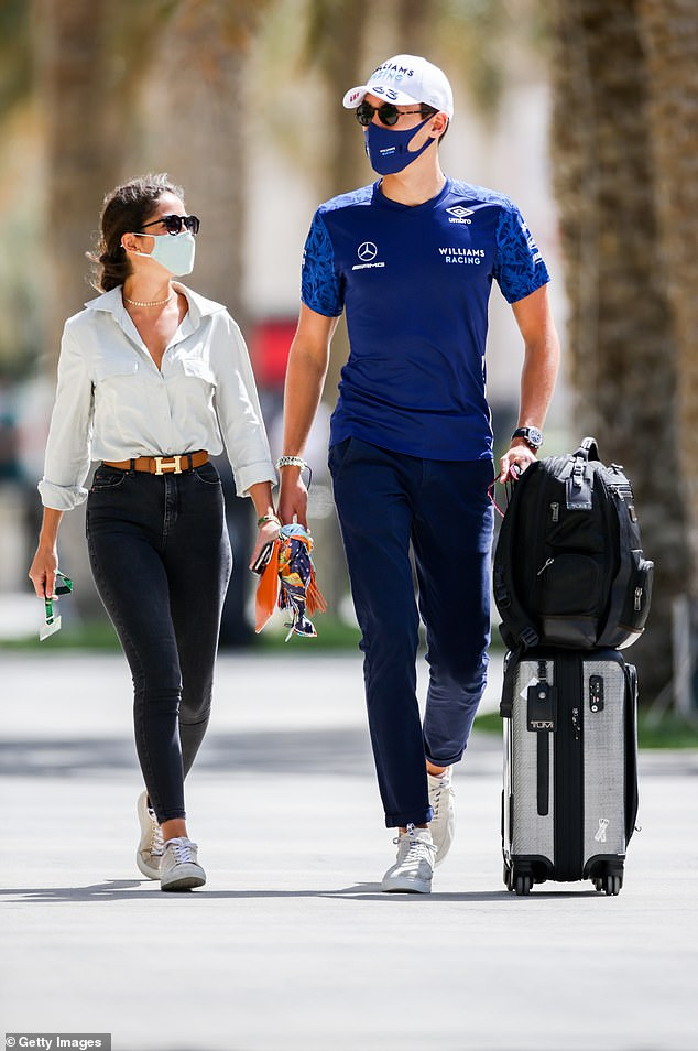 British Williams driver George Russell, 23, is thoroughly loved up with girlfriend Carmen Montero Mundt