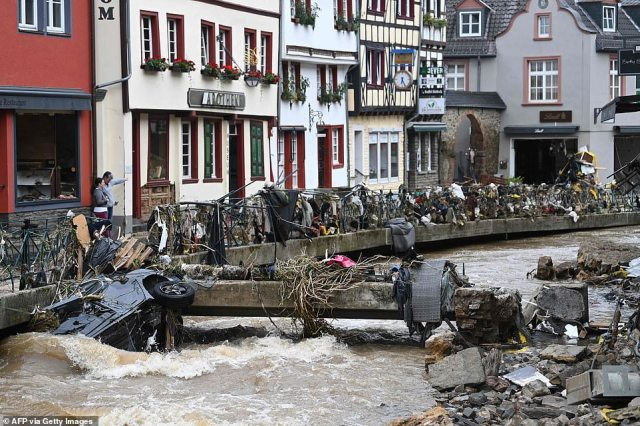 A view of the pedestrian area of Bad Muenstereifel, which was devastated by flooding after heavy rainfall hit western Germany