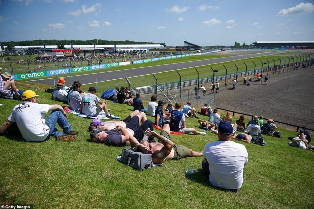 As well as the absence of the normal rules mandating the wearing of face masks, fans welcomed the good weather at the Silverstone circuit