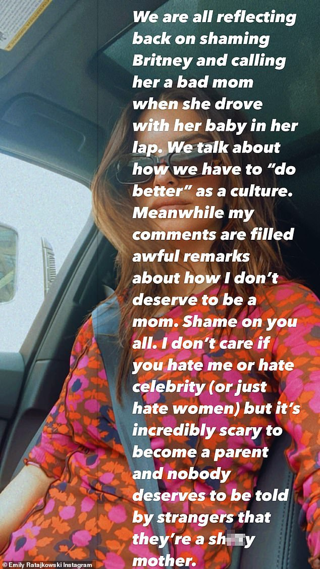 'My comments are filled awful remarks about how I don't deserve to be a mom. Shame on you all,' Emily wrote last week