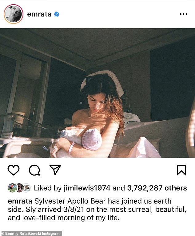 Motherhood: Emily welcomed son Sylvester in March