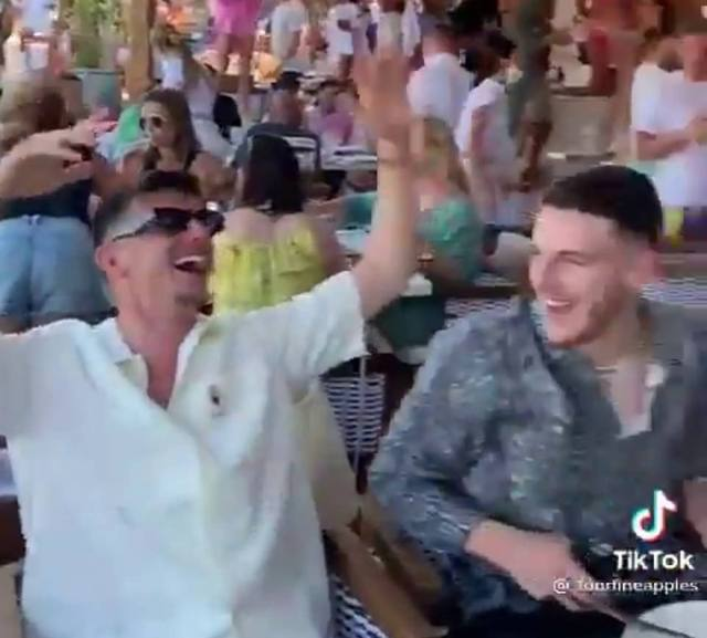 England stars banged the table and enjoyed the popular anthem while on holiday on the Greek island resort of Mykonos