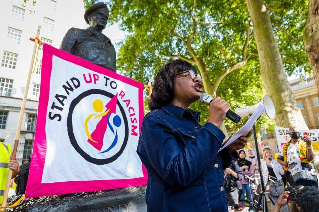 Labour MP Diane Abbott joins a demonstration organised by the Stand Up To Racism group outside Downing Street today