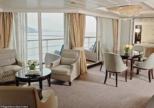 The cruise will stop at 66 ports in 31 different countries located across five different continents. All passengers have private balconies attached to their suites