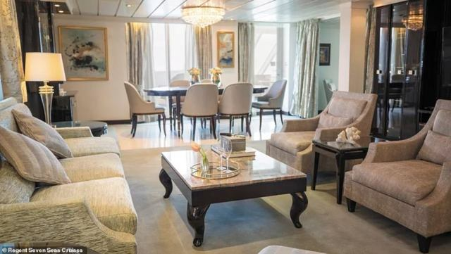 The stunning and spacious master suite is pictured. Combined, a couple will pay $400,000 to spend the 132 nights living in the space as the room costs $200,000 per person