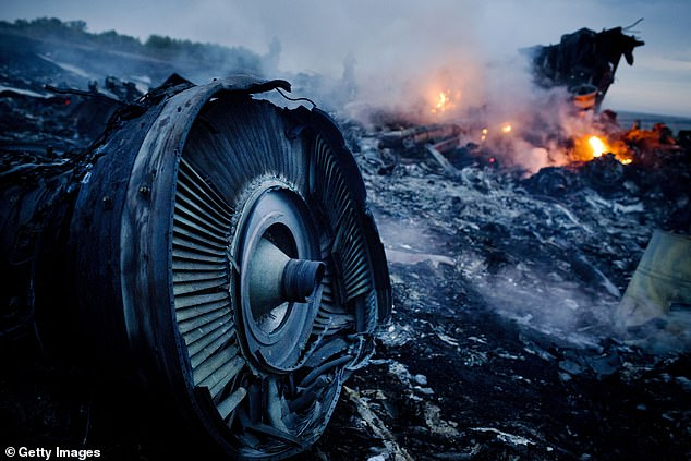 Malaysian Airlines plane MH 17 was shot down by a BUK missile fired by Russian-backed separatists over eastern Ukraine in 2014. Pictured is the smouldering debris