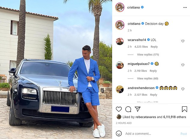 Cristiano Ronaldo has driven more speculation about his Juventus future in an Instagram post