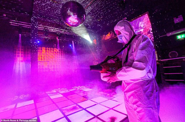 Cleaning operations were in full swing at the Powerhouse nightclub in Newcastle with foggers and vaccuums on the dancefloor ahead of full reopening at midnight