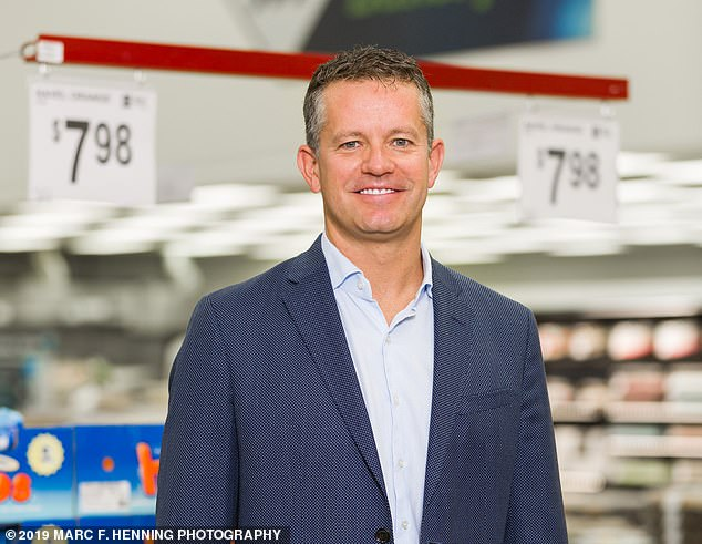 It was reported that Walmart's chief executive, John Furner (pictured), had 'concerns about how shoppers react to seeing a robot working in a store'