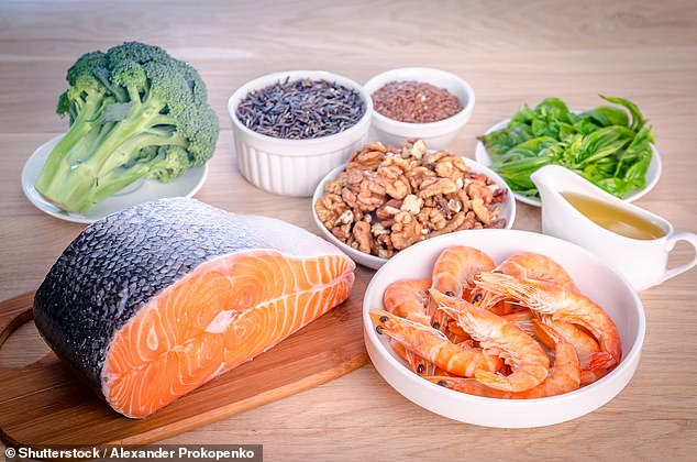 The oil is known to be good for the heart and reduces blood clots. A good level is eight per cent or higher, intermediate is between four and eight per cent and low is four per cent and below (pictured: some sources of omega-3 acids, file photo)