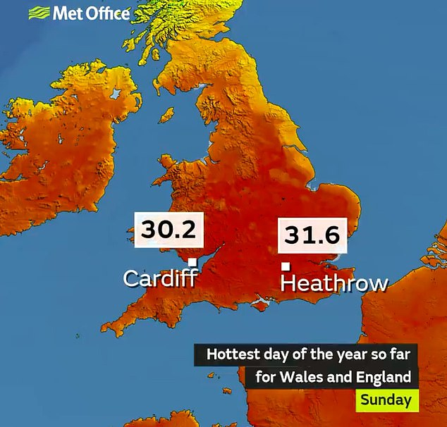 Sunday became the hottest day of the year so far for both England and Wales with temperatures of 86F (30.2C) recorded in Cardiff and 88F (31.6C) at London's Heathrow Airport